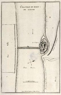 Antike Landkarten, Merian, Frankreich, Schloss von Pont-de-l Arche, 1657: Chasteau du Pont: De L'Arche