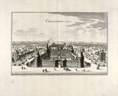Antique Maps, Merian, France, Chateau Angers, 1657: Chasteau de Verger en Aniou