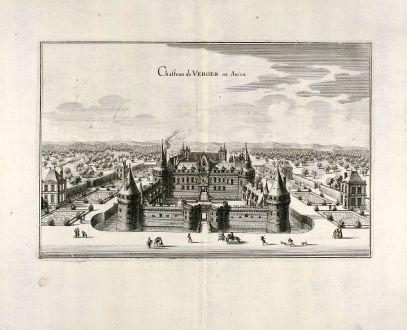 Antike Landkarten, Merian, Frankreich, Schloss Angers, 1657: Chasteau de Verger en Aniou