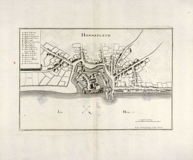 Antike Landkarten, Merian, Frankreich, Honfleur, 1657: Honnefleur