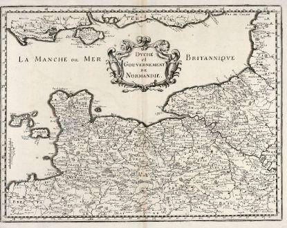 Antike Landkarten, Merian, Frankreich, Normandie, 1657: Duché et Gouvernement de Normandie.