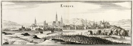 Antique Maps, Merian, France, Evreux, Normandy, 1657: Eureux