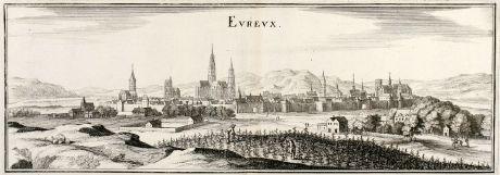 Antike Landkarten, Merian, Frankreich, Evreux, Normandie, 1657: Eureux