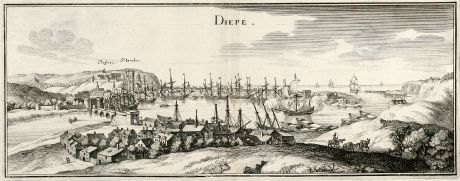 Antique Maps, Merian, France, Dieppe, Normandy, 1657: Diepe