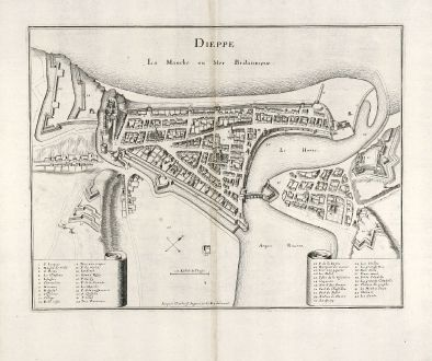 Antique Maps, Merian, France, Dieppe, Normandy, 1657: Dieppe