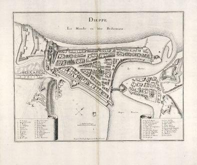 Antike Landkarten, Merian, Frankreich, Dieppe, Normandie, 1657: Dieppe