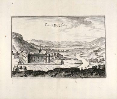 Antike Landkarten, Merian, Frankreich, Schloß Passy, Mantes-la-Jolie, 1657: Chasteau de Passy Sur Seine. Pres la Ville de Mante.
