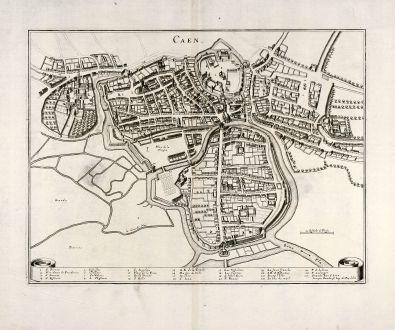 Antike Landkarten, Merian, Frankreich, Caen, Normandie, 1657: Caen