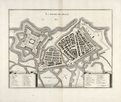 Antique Maps, Merian, France, Le Havre, Normandy, 1657: La Havre de Grace