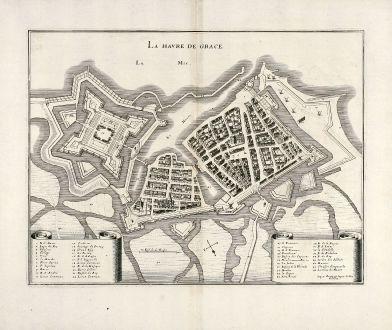 Antike Landkarten, Merian, Frankreich, Le Havre, Normandie, 1657: La Havre de Grace
