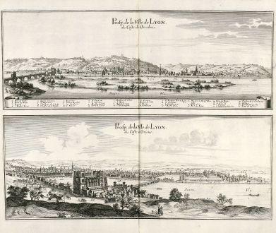 Antique Maps, Merian, France, Lyon, 1657: Prosp: de la Ville de Lyon, du Coste de Occidens / Prosp: de la Ville de Lyon, du Coste de Oriens.