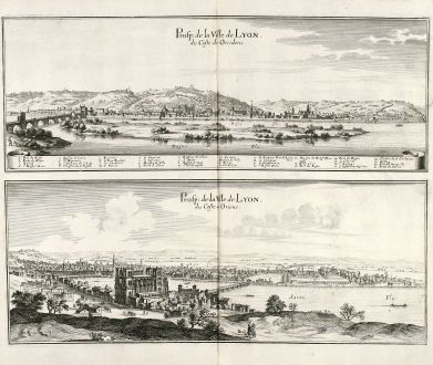 Antike Landkarten, Merian, Frankreich, Lyon, 1657: Prosp: de la Ville de Lyon, du Coste de Occidens / Prosp: de la Ville de Lyon, du Coste de Oriens.