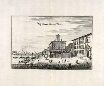 Antike Landkarten, Merian, Frankreich, Lyon, 1657: Prosp. du Palais et du Port Royal de Lion.