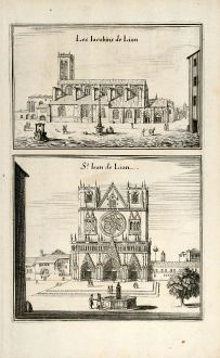 Antique Maps, Merian, France, Lyon, Cathedral St-Jean, 1657: Les Iacobins de Lion / St. Iean de Lion.