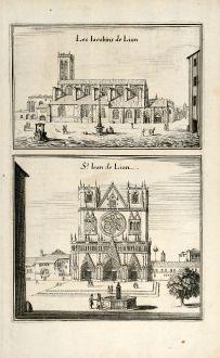 Antike Landkarten, Merian, Frankreich, Lyon, Kathedrale St-Jean, 1657: Les Iacobins de Lion / St. Iean de Lion.