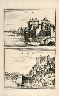 Antique Maps, Merian, France, Lyon, Bastion St-Jean, 1657: Porte St. Claire de Lion / Bastion St. Iean a Lion