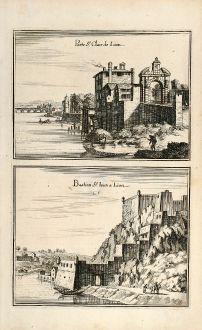 Antike Landkarten, Merian, Frankreich, Lyon, Bastion St-Jean, 1657: Porte St. Claire de Lion / Bastion St. Iean a Lion