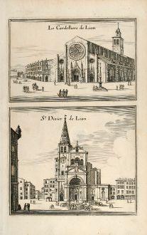 Antike Landkarten, Merian, Frankreich, Lyon, Place des Cordeliers, St. Dizier: Les Cordelliers de Lion / St. Dizier de Lion