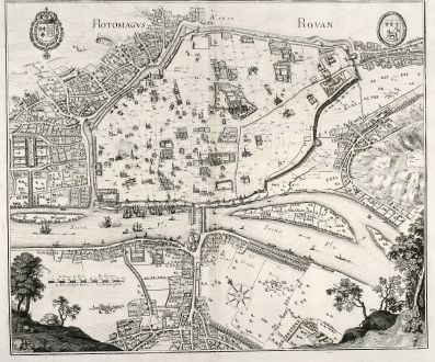 Antique Maps, Merian, France, Rouen, 1657: Rotomagus, Rouan