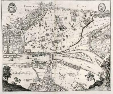 Antike Landkarten, Merian, Frankreich, Rouen, 1657: Rotomagus, Rouan