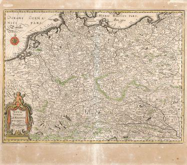 Antike Landkarten, Merian, Deutschland, Mittel-Europa, 1650: Nova Totius Germaniae Descriptio Teütschland