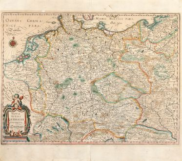 Antique Maps, Merian, Germany, Central Europe, 1650: Nova Totius Germaniae Descriptio Teütschland
