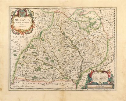 Antique Maps, Blaeu, Czechia - Bohemia, Moravia, 1630: Moravia Marchionatus Auctore I.A. Comenio.