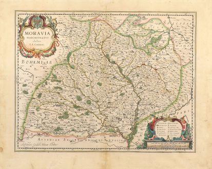 Antike Landkarten, Blaeu, Tschechien - Böhmen, Mähren, 1630: Moravia Marchionatus Auctore I.A. Comenio.