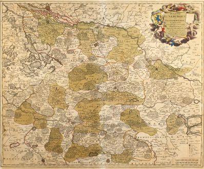 Antike Landkarten, de Wit, Deutschland, Niedersachsen, 1710: Ducatus Luneburgici et Dannebergensis Comitatus Nova Descriptio in Eorumdem Praefecturas