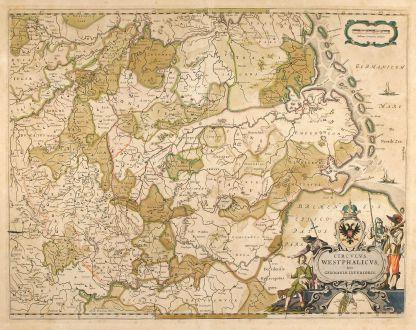 Antique Maps, Blaeu, Germany, North Rhein-Westphalia, Lower Saxony, 1640: Circulus Westphalicus, Sive Germaniae Inferioris