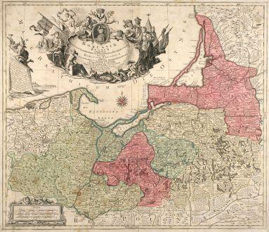 Antike Landkarten, Lotter, Polen, Ostpreußen, 1759: Borussiae Regnum complectens Circulos Sambiensem, Natangiensem et Hockerlandiae nec non Borussia Polonica Exhibens...