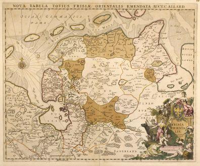 Antike Landkarten, Allard, Deutschland, Friesland, 1697: Nova Tabula Totius Frisiae Orientalis Emendata Auct. C. Allard