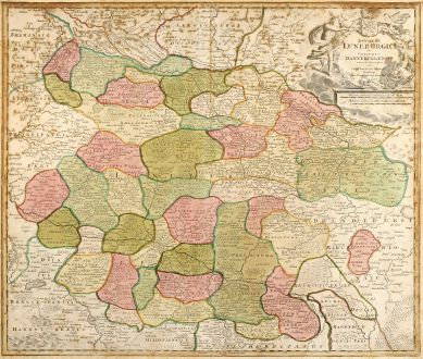 Antike Landkarten, Homann, Deutschland, Niedersachsen, 1720: Ducatus Luneburgici et Comitatus Dannebergensis accurata Descriptio