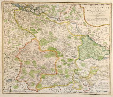 Antike Landkarten, Homann Erben, Deutschland, Niedersachsen, 1765: Ducatus Luneburgici in susa Praefecturas et Vogteyas ad Statum recentissimum divisi Tabula Geographica