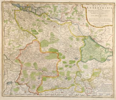 Antique Maps, Homann Erben, Germany, Lower Saxony, 1765: Ducatus Luneburgici in susa Praefecturas et Vogteyas ad Statum recentissimum divisi Tabula Geographica