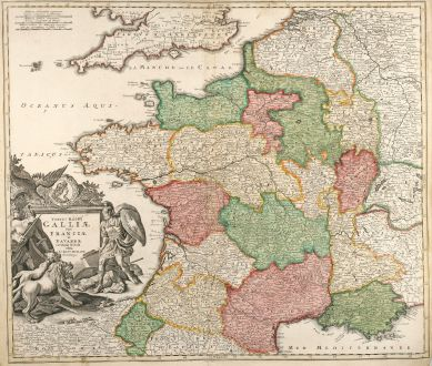 Antique Maps, Homann, France, 1720: Totius Regni Galliae Sive Franciae et Navarrae novißima Tabula edita à Io. Bapt. Homann Norimbergae.
