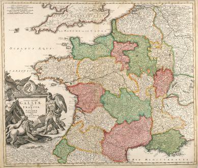 Antike Landkarten, Homann, Frankreich, 1720: Totius Regni Galliae Sive Franciae et Navarrae novißima Tabula edita à Io. Bapt. Homann Norimbergae.