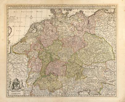 Antike Landkarten, Visscher, Deutschland, Mittel-Europa, 1700: S. Imperium Romano-Germanicum oder Teutschland mit seinen angräntzenden königreichen und Provincien