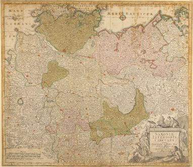 Antike Landkarten, Seutter, Deutschland, Norddeutschland, 1730: Saxoniae Inferioris Circulus juxta Principatus