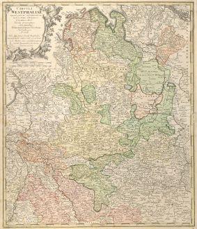 Antike Landkarten, Homann Erben, Deutschland, Niedersachsen, Nordrhein-Westfalen: Circuli Westphaliae
