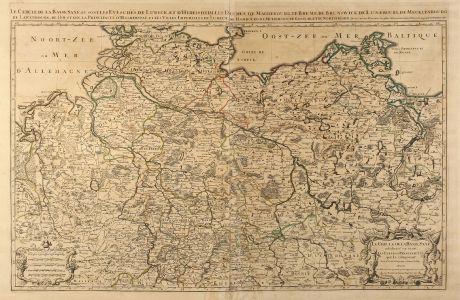 Antike Landkarten, Sanson, Deutschland, Norddeutschland, 1692: Le Cercle de la Basse Saxe, ou sont les Eveschés de Lubeck, et d'Hidelsheim, les Duches de Magdebourg, de Breme, de...