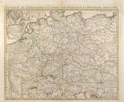Antique Maps, Homann, Germany, Postal Routes Map, 1714: Neu vermehrte Post Charte durch gantz Teutschland nach Italien, Franckreich. Niederland, Preußen, Polen, und Ungarn /...