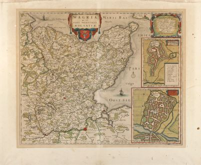 Antique Maps, Blaeu, Germany, Holstein, Oldenburg, 1662: Wagria, que est pars Orientalis Holsatiae