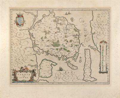 Antique Maps, Blaeu, Scandinavia, Denmark, Funen, Fyn, 1640: Fionia vulgo Funen