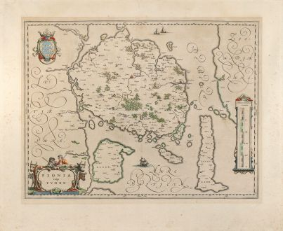 Antike Landkarten, Blaeu, Skandinavien, Dänemark, Funen, 1640: Fionia vulgo Funen