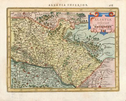 Antique Maps, Mercator, France, Alsace, Strasbourg, Haguenau, 1628: Alsatia inferior