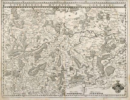 Antike Landkarten, Merian, Frankreich, Lothringen, Saarland, 1628: Lotharingia Ducatus, Vulgo Lorraine.