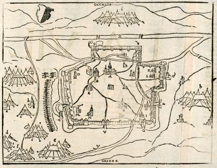 Antike Landkarten, Münster, Frankreich, Lothringen, Metz, 1570: Le portraist de la ville de Metz auec la declaration de beaucoup d'edifices.