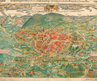 Antike Landkarten, Münster, Frankreich, Elsass, Weißenburg, 1550: Weissenburg mit umbligender Landtschaffe auff das allerfleissigest nach aller Gelegenheit Contrafehtet.