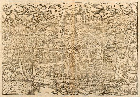 Antike Landkarten, Münster, Frankreich, Elsass, Rufach, 1550: Die Statt Rufach mit sampt dem Schloß Isenburg / auffs fleissigest nach jetziger Gelegenheit contrafehtet.